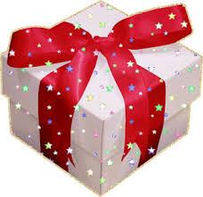 Cadeau noeux rouge avec etoiles filantes