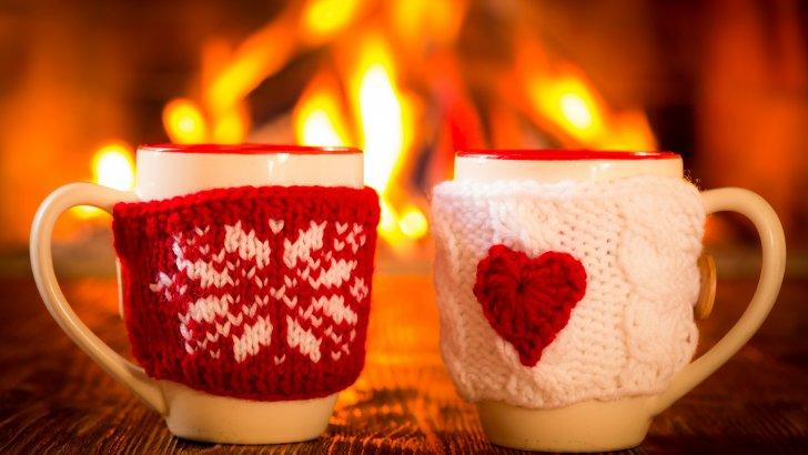 Feu cheminee tasse coeur